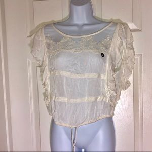 Hollister Women's Sheer Lace Top WHITE (M)